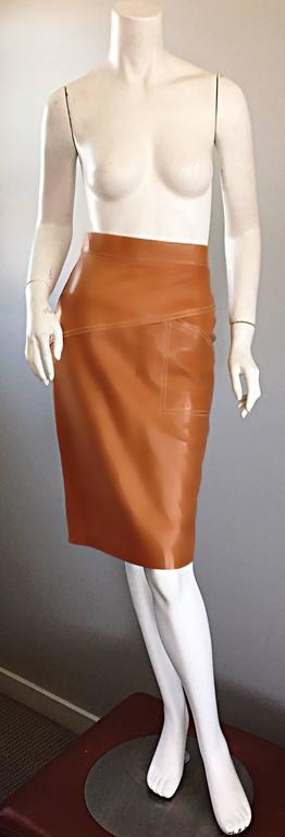ESCADA  Margaretha Ley Vintage High Waist Leather Saddle Cognac Tan Pencil Skirt 2