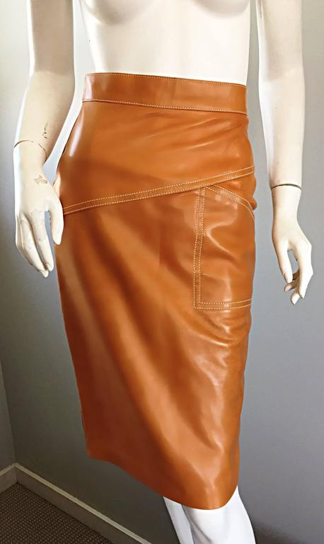 ESCADA  Margaretha Ley Vintage High Waist Leather Saddle Cognac Tan Pencil Skirt 5