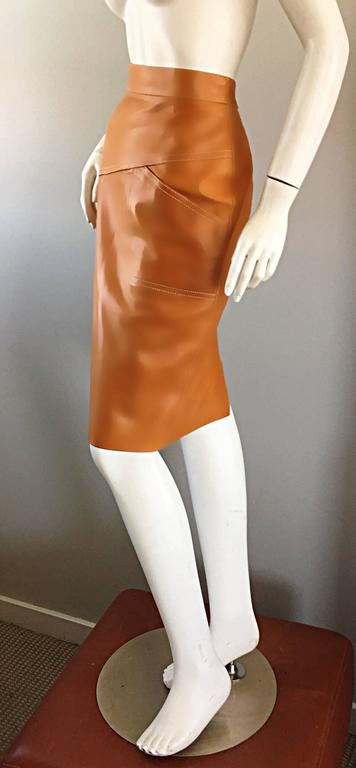ESCADA  Margaretha Ley Vintage High Waist Leather Saddle Cognac Tan Pencil Skirt 3