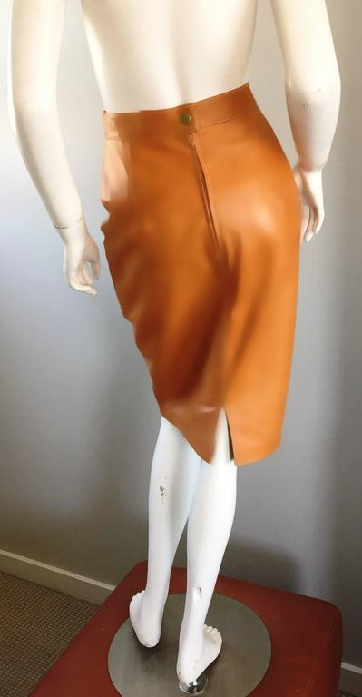 ESCADA  Margaretha Ley Vintage High Waist Leather Saddle Cognac Tan Pencil Skirt 4
