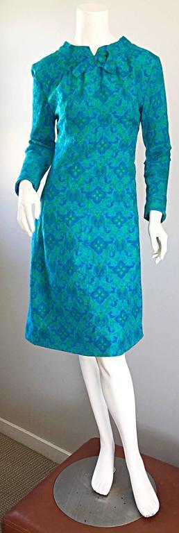 Vintage Yen Yen of Malaya 1960s Teal Blue + Green Long Sleeve A - Line 60s Dress For Sale 4
