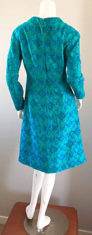 Vintage Yen Yen of Malaya 1960s Teal Blue + Green Long Sleeve A - Line 60s Dress In Excellent Condition For Sale In Chicago, IL