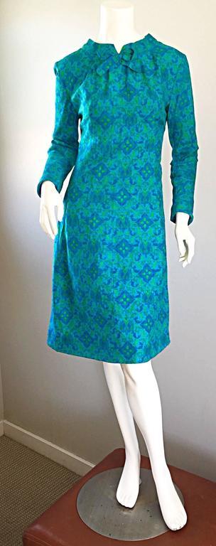 Vintage Yen Yen of Malaya 1960s Teal Blue + Green Long Sleeve A - Line 60s Dress For Sale 1