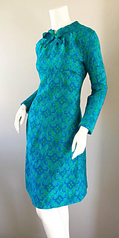 Vintage Yen Yen of Malaya 1960s Teal Blue + Green Long Sleeve A - Line 60s Dress For Sale 2