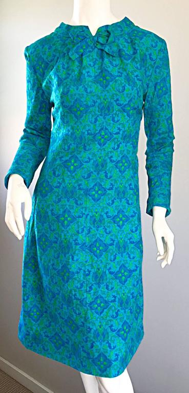 Vintage Yen Yen of Malaya 1960s Teal Blue + Green Long Sleeve A - Line 60s Dress For Sale 3