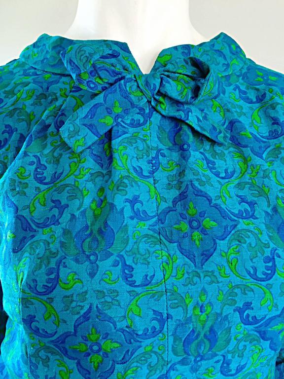 Vintage Yen Yen of Malaya 1960s Teal Blue + Green Long Sleeve A - Line 60s Dress For Sale 5