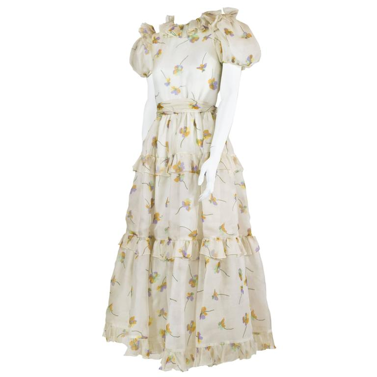 1970s Bill Blass Floral Print Silk Organza  Ruffled  Party Dress Gown 1