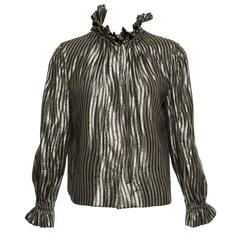 Pauline Trigere Black Gold Striped Lurex Snap Front Blouse, Circa 1970's