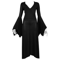 Vintage Tom Ford for Yves Saint Laurent Black Bell Sleeve Dress  2003 Runway