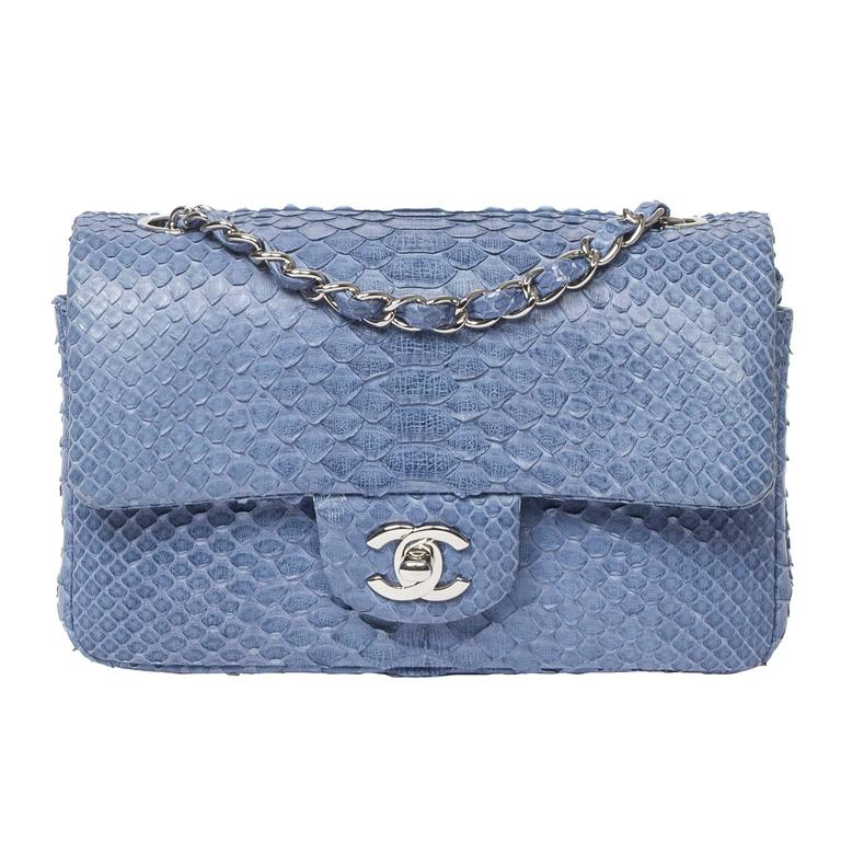 Chanel Mini Flap Powder Blue Python For Sale