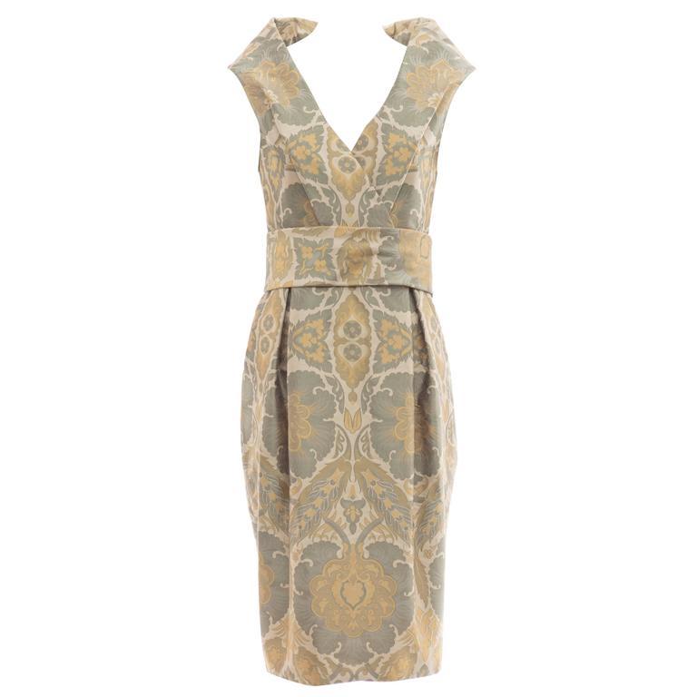 Alexander Mcqueen Silk Jacquard Evening Dress, Fall 2006 For Sale