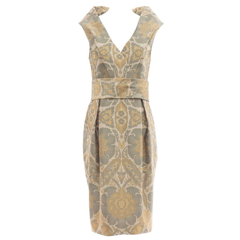 """Alexander Mcqueen Runway """"The Widows of Culloden"""" Silk Jacquard Dress, Fall 2006 For Sale"""