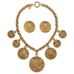 1970s CHANEL Gold Medallion Coat of Arms Crest Lion Necklace Earring Set