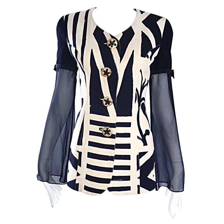 Vintage Gemma Kahng Black and White 1990s Avant Garde Jacket w/ Chiffon Sleeves