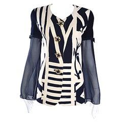 Vintage Gemma Kahng Sz 4 Black White 1990s Avant Garde Jacket w/ Chiffon Sleeves