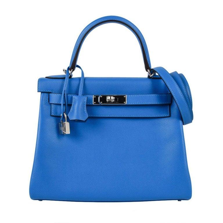 Hermes Kelly 28 Bag Vivid Blue Hydra Palladium Beauty Evercolor Leather