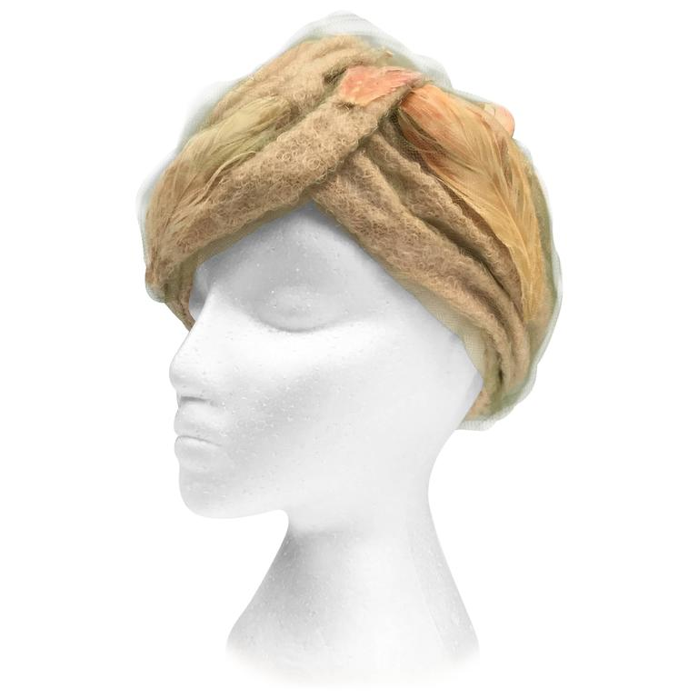 1960s Christian Dior Bouclé and Painted Feather Chapeaux