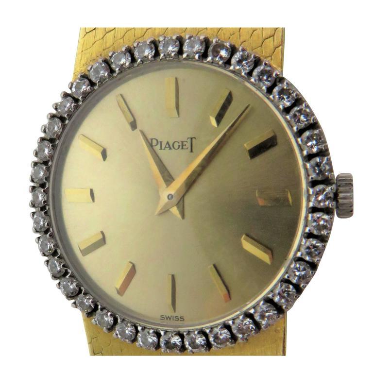 Piaget Ladies Yellow Gold Diamond Bracelet Wristwatch 1