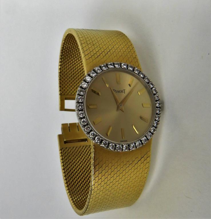 Piaget Ladies Yellow Gold Diamond Bracelet Wristwatch 4