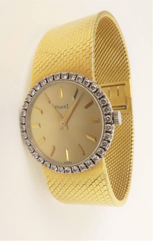 Piaget Ladies Yellow Gold Diamond Bracelet Wristwatch 7