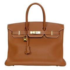 Hermes Tan Gold Togo Leather 35cm Birkin Bag GHW w/ Box & Dust Bag