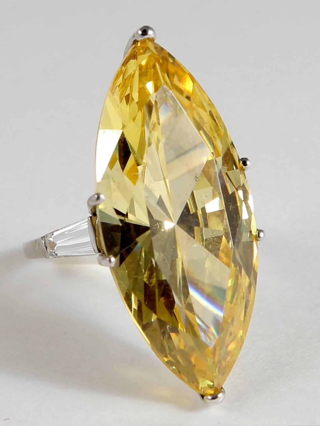 The Jackie O Faux Canary Yellow Marquise Diamond Ring Copy For Sale at 1stdibs