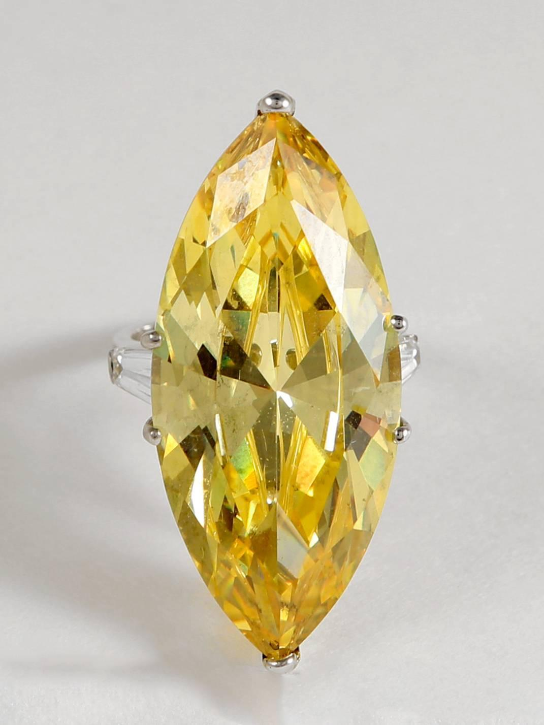 The Jackie O Faux Canary Yellow Marquise Diamond Ring Copy