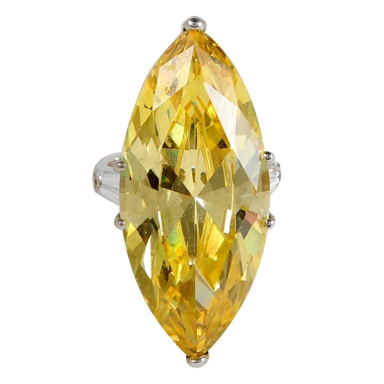 The Jackie O Faux Canary Yellow Marquise Diamond Ring Copy 1