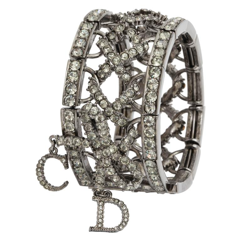 Christian Dior by John Galliano Rhinestone Bangle with Bow For Sale
