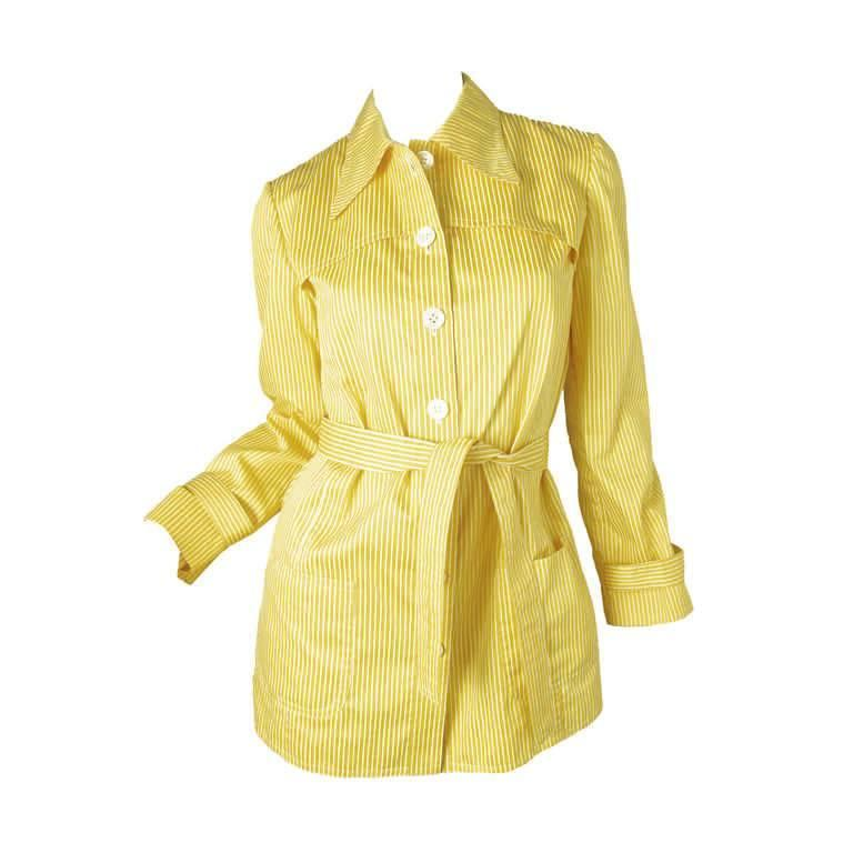 1970s Valentino yellow and white striped cotton jacket 1