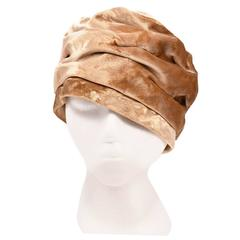 Late 1960s Mr. John Champagne Velvet Turban Hat
