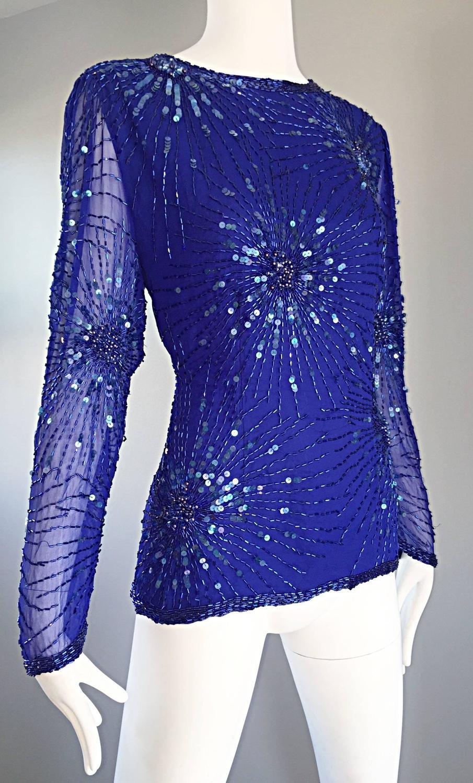 Royal Blue Silk Blouse