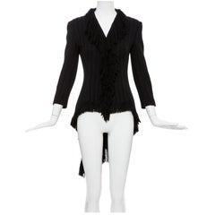 Yohji Yamamoto Black Silk Wool Tweed Cutaway Jacket With Fringe Trim, Fall 2013