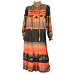 1970s Leonard Paris Jersey Knit Geometric Dress