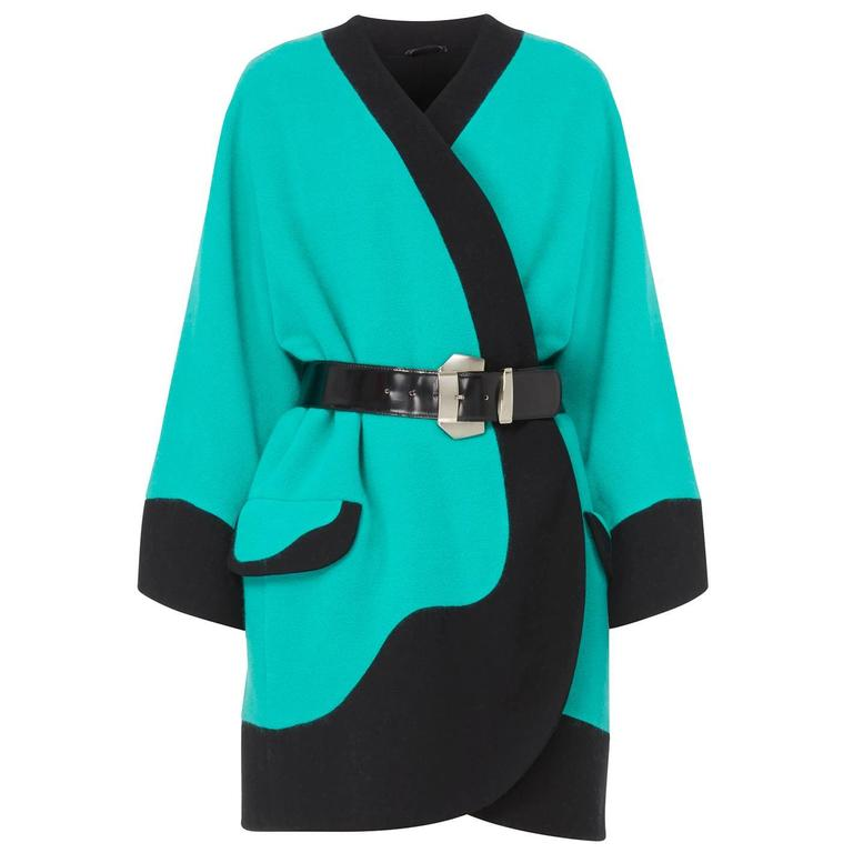Versace Turquoise coat, Autumn/Winter 1991 For Sale