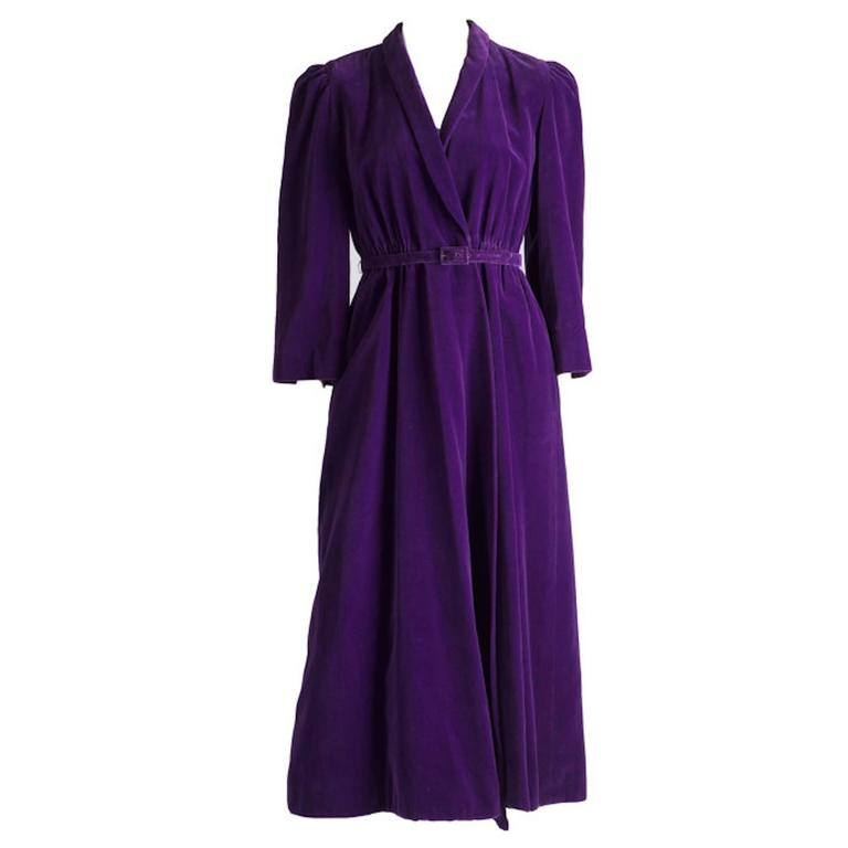 Vintage Purple Cotton Velvet 1970s IB Jorgensen For Mattli Evening Coat UK 10 1