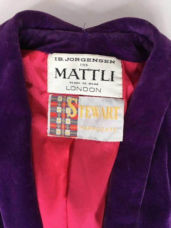 Vintage Purple Cotton Velvet 1970s IB Jorgensen For Mattli Evening Coat UK 10 3