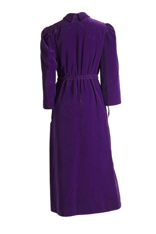 Vintage Purple Cotton Velvet 1970s IB Jorgensen For Mattli Evening Coat UK 10 2
