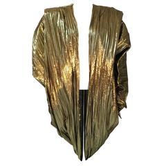 La Palme Vintage Gold Pleated Metallic Cocoon Evening Jacket 1980s Free Size