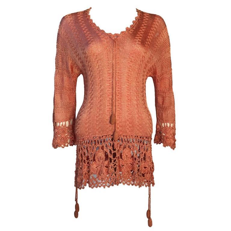 Art Deco Vintage 1920s Silk Crochet Tassel Detail Top Jumper Size UK 8/10 1