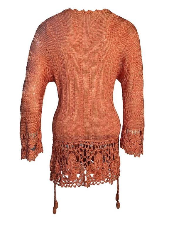 Art Deco Vintage 1920s Silk Crochet Tassel Detail Top Jumper Size UK 8/10 2