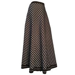 Vintage 1970s Lanvin At Rembrandt Brown & Silver Polka Dot Maxi Skirt Size UK 12
