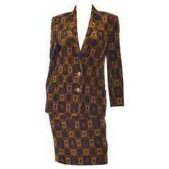 Vintage Genny Olive Cotton Velvet Skirt Suit