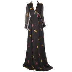 Ossie Clark Black Silk Empire Feather Print Gown, 2008