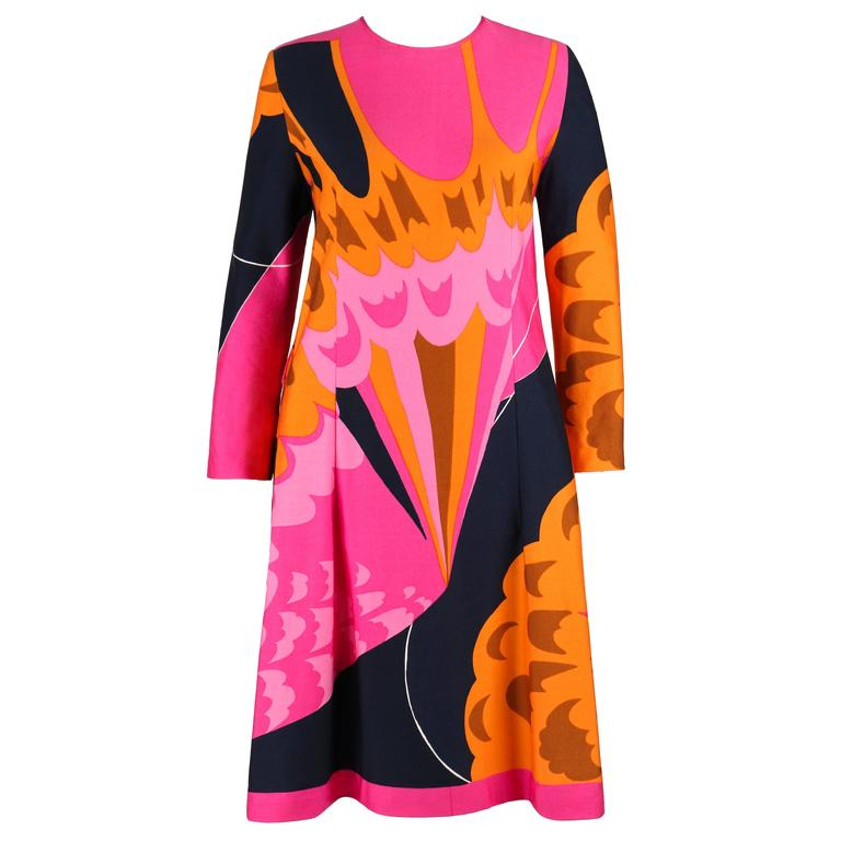 HENAE MORI 1970s Pink Orange Multicolor Abstract Print Long Sleeve Shift Dress 1