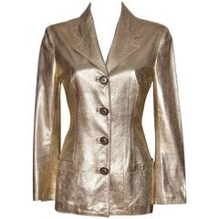GIANNI VERSACE Gold Embossed Python Style Leather Jacket