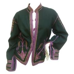 Exotic Embroidered Green Wool Jacket c 1970s