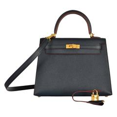 Sexiest Hermes Kelly Bag 25cm Indigo with rouge H contour Gold Hardware