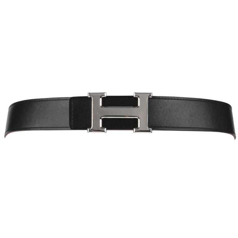 HERMES c.2006 Black Cognac Epsom Leather Silver H Buckle Reversible Belt Kit