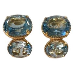 Bijoux Num Double Aquamarine Pierced Earrings
